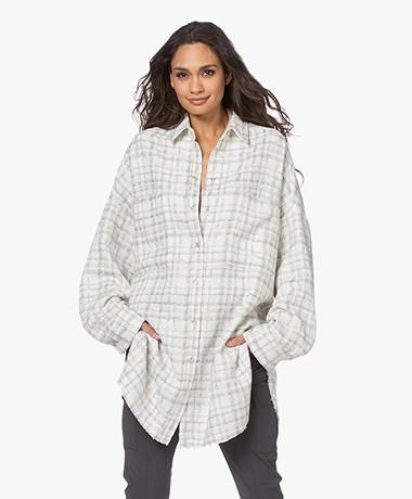 IRO Annika Oversized Checkered Lurex Jacket - White/Beige/Silver