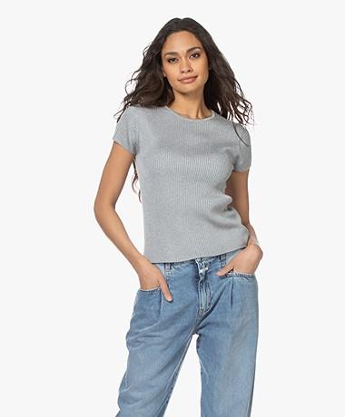 Drykorn Ermali Rib Cap Sleeve Sweater - Grey