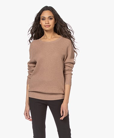 Repeat Cotton and Cashmere Sweater - Caramel