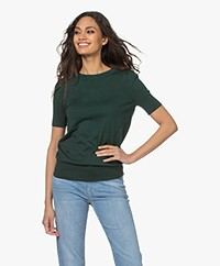 Plein Publique La Femme Pointelle Short Sleeve Pullover - Dark Green