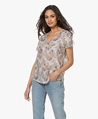 Repeat Linen Print T-shirt with Lurex - Leaves