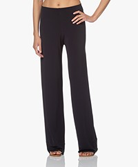 no man's land Crepe Jersey Pants with Wide Legs - Dark Sapphire