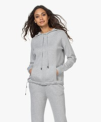 Repeat Knitted Cotton Blend Hooded Sweater - Soft Grey