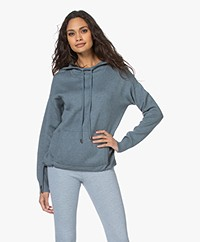 Repeat Knitted Cotton Blend Hooded Sweater - Ocean