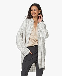IRO Annika Oversized Checkered Lurex Jacket - White/Beige/Silver