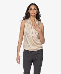 no man's land Washed Silk Wrap Top - Oak