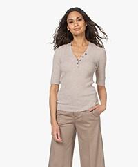 Repeat Luxury Cashmere Mid Sleeve Sweater - Beige