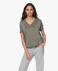 Repeat Fine Knit Sweater with Silk Front - Khaki