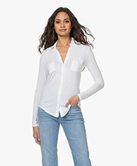 Majestic Filatures Anya Jersey Slit Neck Blouse - White