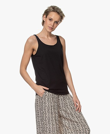 Repeat Lyocell Blend Tank Top - Black