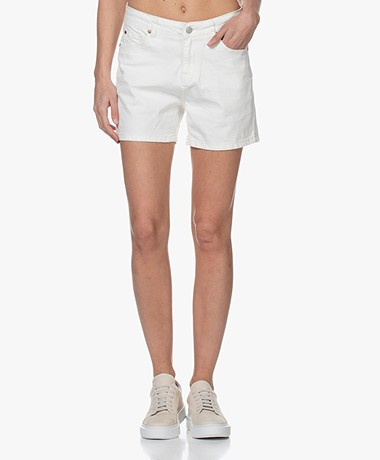 MKT Studio The Lenny New Drill Mom Shorts - Off-white