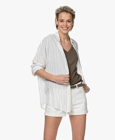 IRO Markina Gestreepte Overhemdblouse van Viscose - Off-white/Greige
