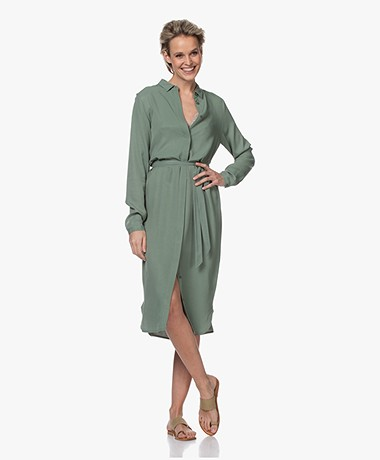 by-bar Jonna Viscose Crêpe Jurk - Olive