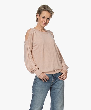 Repeat Bamboo Blend Cold Shoulder Sweater - Peach