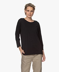 Repeat Lyocell Blend Batwing T-shirt - Black