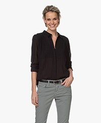 indi & cold Crinkle Cotton Blend Blouse - Black