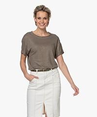 Repeat Linnen Slub Jersey T-shirt - Khaki