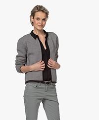 Sibin/Linnebjerg Estelle Kort Herringbone Vest - Zwart/Kit