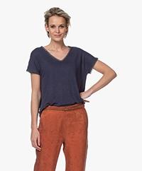 indi & cold Linnen V-hals T-shirt - Marine