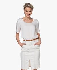 Repeat Silk Short Sleeve Blouse - Cream