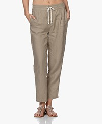 Drykorn Level Linnen Loose-fit Broek - Donkerbeige