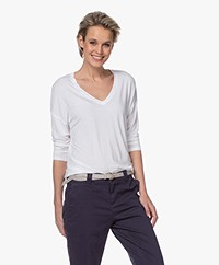 Majestic Filatures V-neck T-shirt with Cropped Sleeves - White