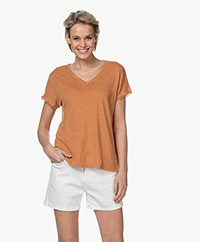 indi & cold Linnen V-hals T-shirt - Canela