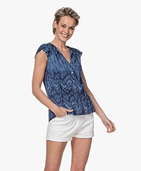 indi & cold Sleeveless Viscose Print Blouse - Indigo