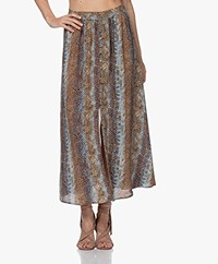 MKT Studio Java Maxi Snake Printed Skirt - Blue/Brown