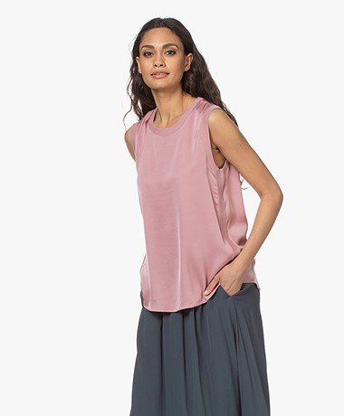 Repeat Sleeveless Stretch Silk Top - Gloss