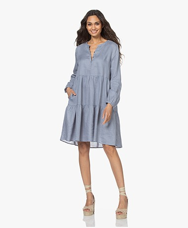 Repeat Pleated Linen A-line Dress - Dusty Blue