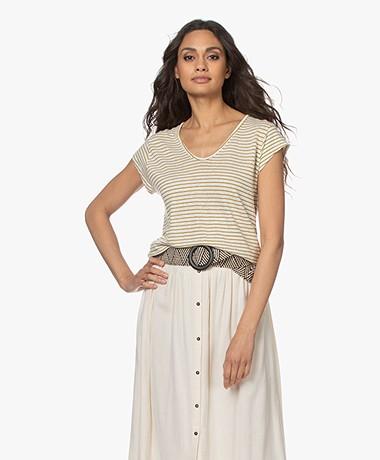indi & cold Striped Linen Mix T-shirt - Oliva
