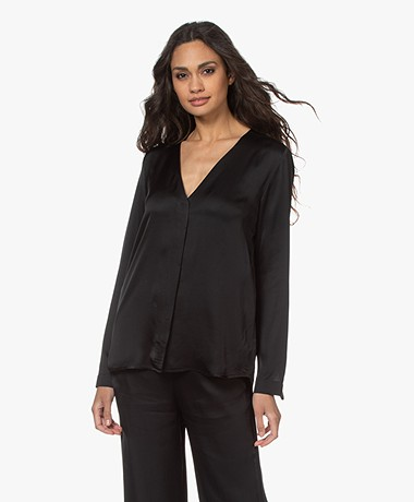 Woman by Earn Bella Satin V-neck Blouse - Black