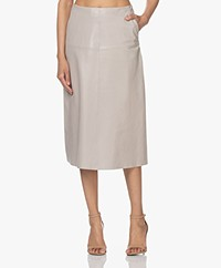 LaSalle Leather A-line Midi Skirt - Beige
