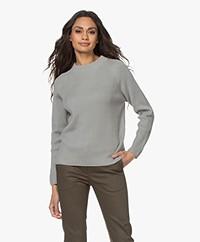 no man's land Rib Knitted Cotton Sweater - Sage
