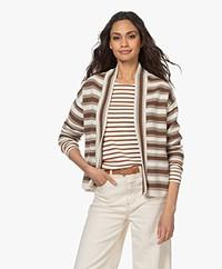 no man's land Striped Cotton Blend Cardigan - Brown/Off-white