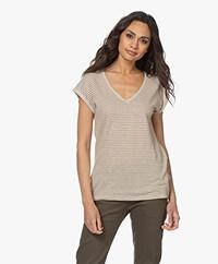 by-bar Mila Lurex Striped Linen T-shirt - Sand