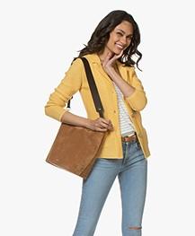 Closed Suede Bucket Bag - Amber