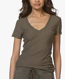 James Perse Slub Jersey V-neck T-shirt - Army Green