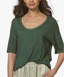 Majestic Filatures Hand Dyed T-shirt in Silk Jersey - Army