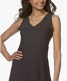 no man's land Sleeveless Travel Jersey Dress - Brown Black