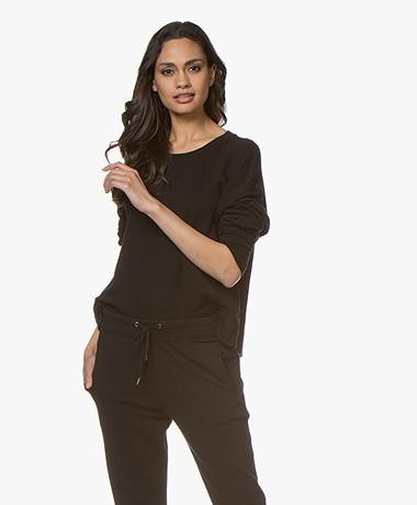 James Perse Relaxed Cropped Sweater - Zwart
