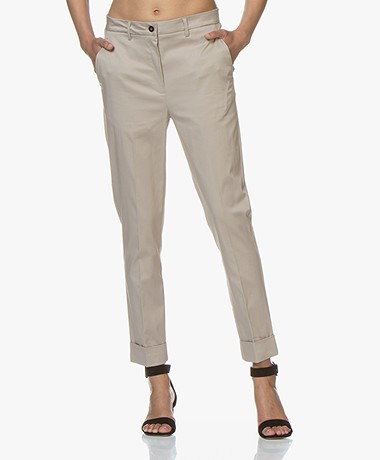 Woman by Earn Beth Stretch-Katoenen Pantalon - Sand