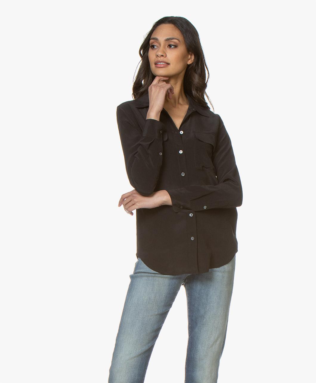 4c05b154481a8b Equipment Slim Signature Washed-silk Shirt - True Black - slim signature