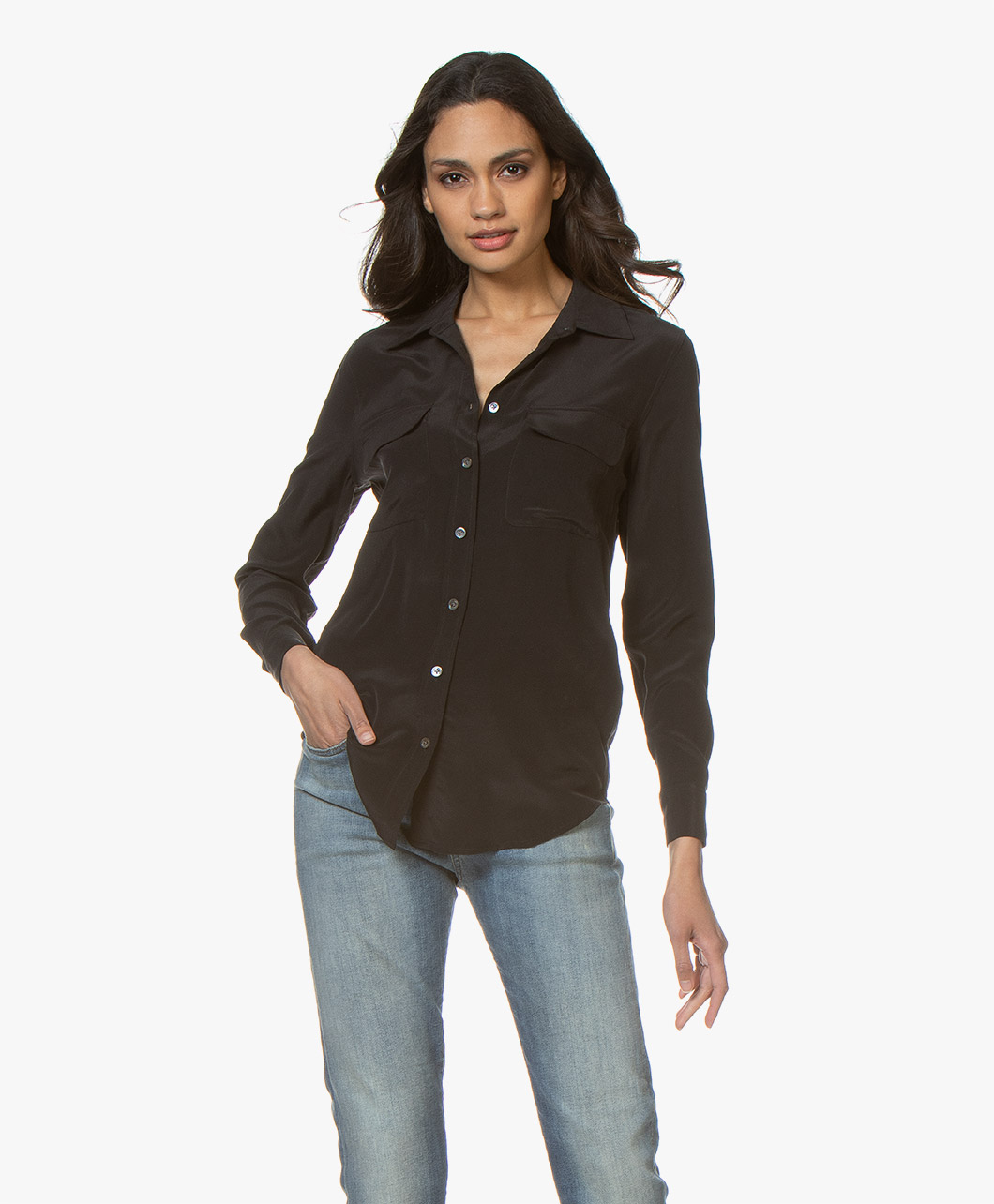 Afbeelding van Equipment Blouse Slim Signature Washed silk in Zwart