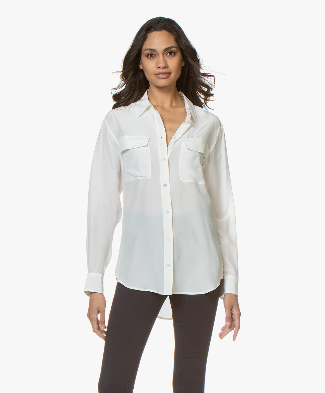 Afbeelding van Equipment Signature Washed silk Blouse Nature White