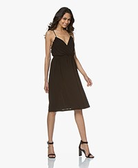 Vanessa Bruno Leonie Crepe Jersey Dress with Ruffles - Black