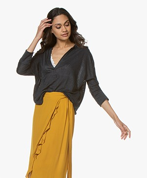 ba&sh Lexy Linen Cropped Sleeve T-shirt - Carbone