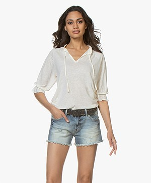 Closed Jersey T-shirt with Tie Neck - Blanched Almond