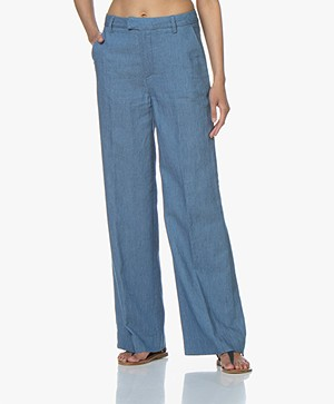 Closed Lyn Wide Leg Chambray Pants - Mid Blue